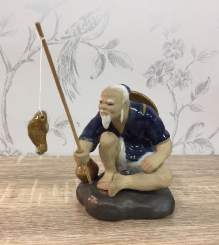 Ceramic Traditional Chinese Fisherman - Sitting, Dark Blue